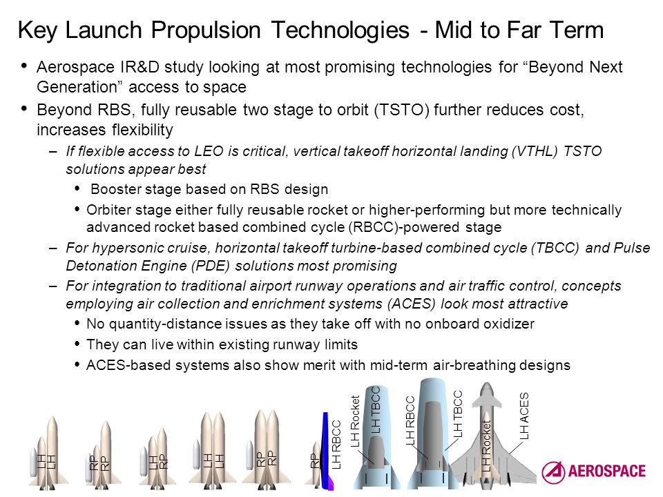 6 Launch, Strike & Range / Development Planning & Architectures Key Launch Propulsion Technologies - Mid to Far Term Aerospace IR&D study looking at most promising technologies for Beyond Next Generation access to space Beyond RBS, fully reusable two stage to orbit (TSTO) further reduces cost, increases flexibility –If flexible access to LEO is critical, vertical takeoff horizontal landing (VTHL) TSTO solutions appear best Booster stage based on RBS design Orbiter stage either fully reusable rocket or higher-performing but more technically advanced rocket based combined cycle (RBCC)-powered stage –For hypersonic cruise, horizontal takeoff turbine-based combined cycle (TBCC) and Pulse Detonation Engine (PDE) solutions most promising –For integration to traditional airport runway operations and air traffic control, concepts employing air collection and enrichment systems (ACES) look most attractive No quantity-distance issues as they take off with no onboard oxidizer They can live within existing runway limits ACES-based systems also show merit with mid-term air-breathing designs LH LH Rocket RP LH RBCC LH TBCC LH RBCC LH TBCC LH ACES LH Rocket