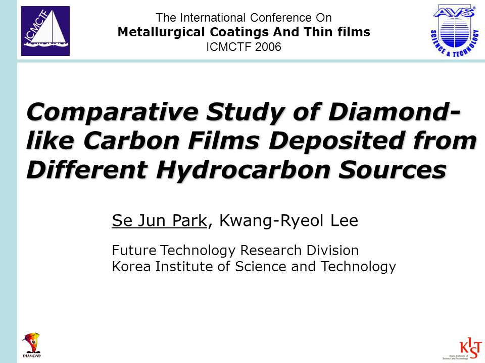 Comparative Study of Diamond- like Carbon Films Deposited from Different Hydrocarbon Sources Se Jun Park, Kwang-Ryeol Lee Future Technology Research Division Korea Institute of Science and Technology The International Conference On Metallurgical Coatings And Thin films ICMCTF 2006