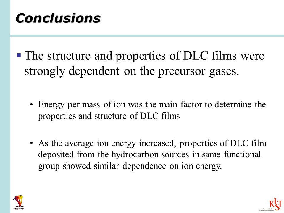 Conclusions  The structure and properties of DLC films were strongly dependent on the precursor gases.
