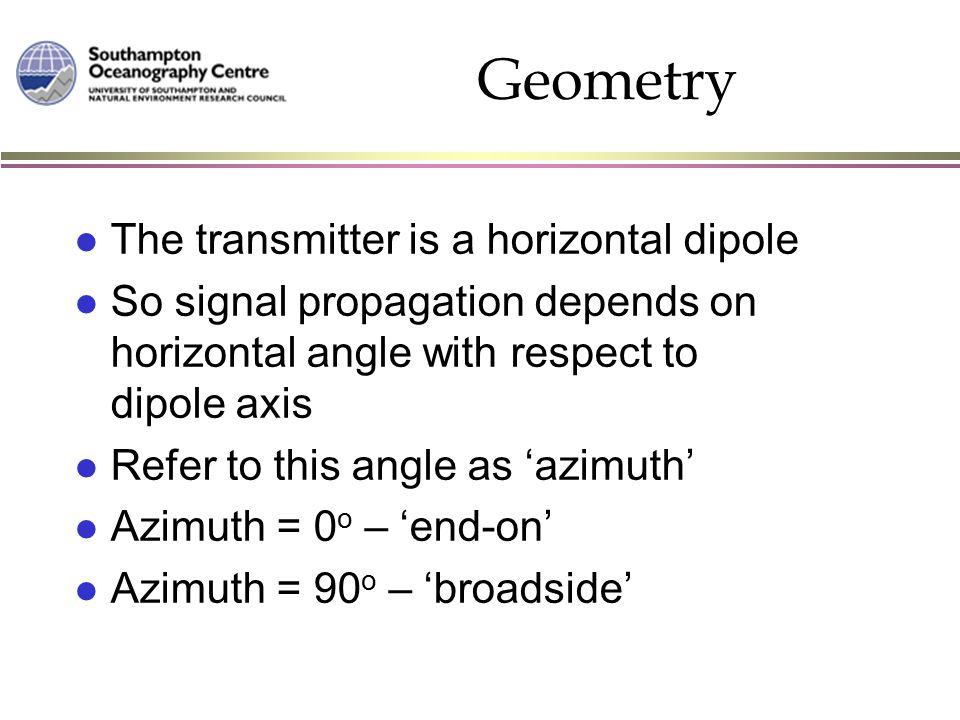 Geometry l The transmitter is a horizontal dipole l So signal propagation depends on horizontal angle with respect to dipole axis l Refer to this angl