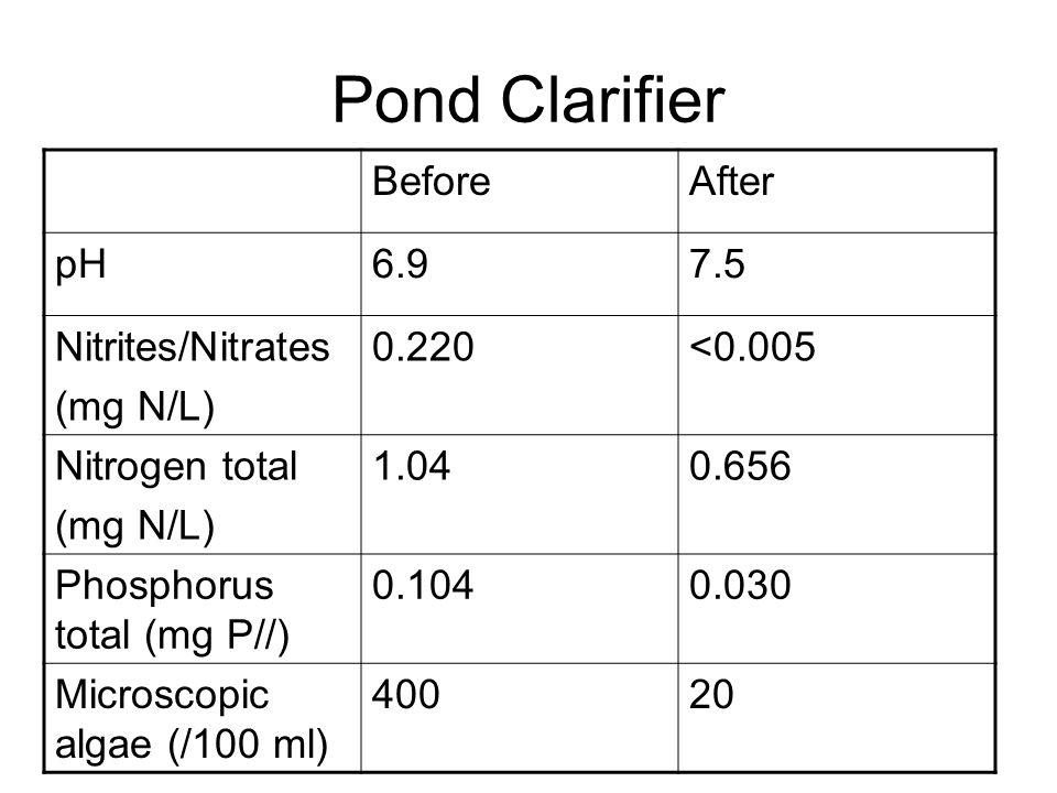 Pond Clarifier BeforeAfter pH6.97.5 Nitrites/Nitrates (mg N/L) 0.220<0.005 Nitrogen total (mg N/L) 1.040.656 Phosphorus total (mg P//) 0.1040.030 Microscopic algae (/100 ml) 40020