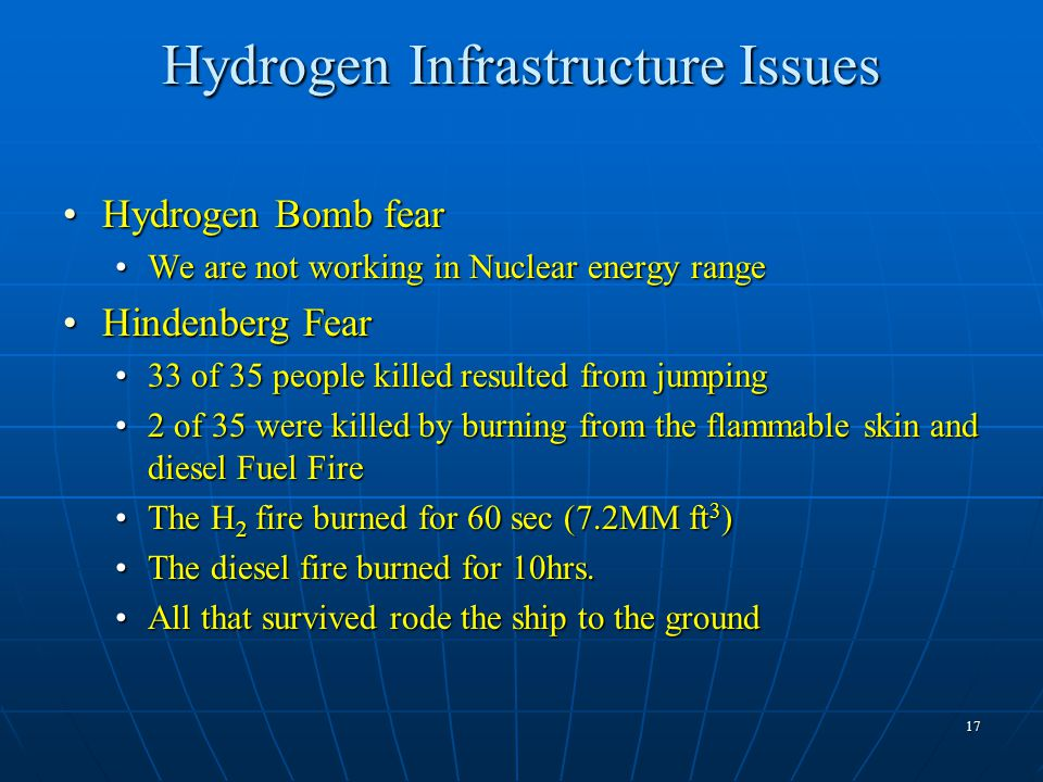 17 Hydrogen Infrastructure Issues Hydrogen Bomb fearHydrogen Bomb fear We are not working in Nuclear energy rangeWe are not working in Nuclear energy range Hindenberg FearHindenberg Fear 33 of 35 people killed resulted from jumping33 of 35 people killed resulted from jumping 2 of 35 were killed by burning from the flammable skin and diesel Fuel Fire2 of 35 were killed by burning from the flammable skin and diesel Fuel Fire The H 2 fire burned for 60 sec (7.2MM ft 3 )The H 2 fire burned for 60 sec (7.2MM ft 3 ) The diesel fire burned for 10hrs.The diesel fire burned for 10hrs.