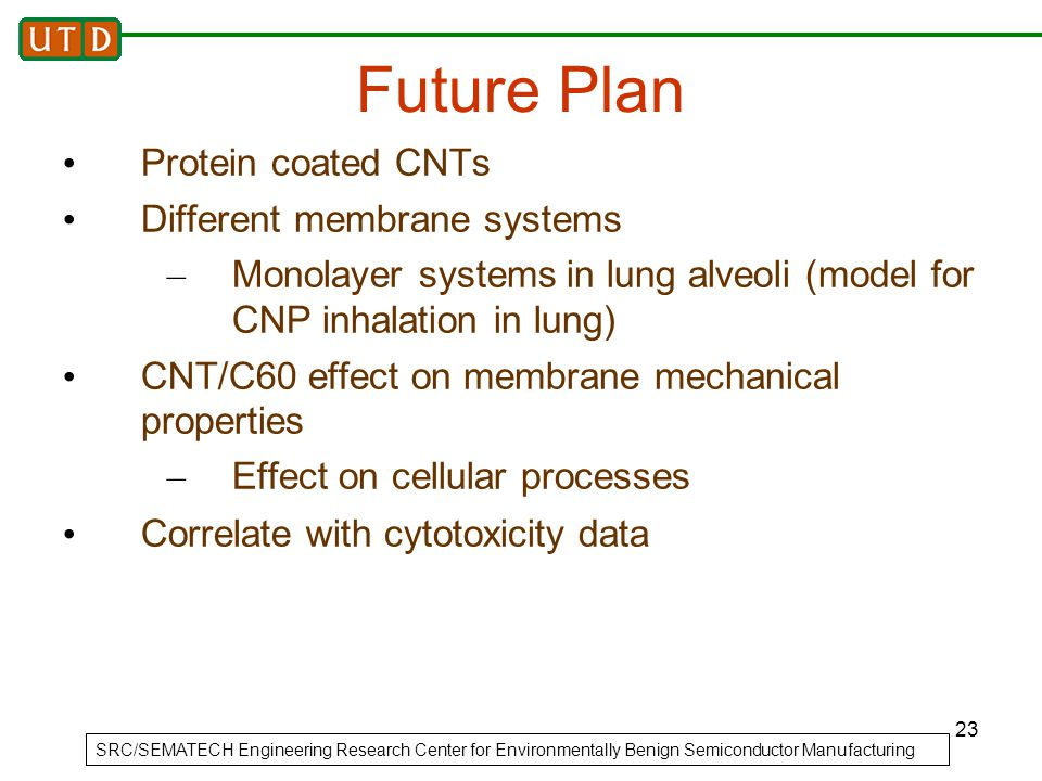 23 Future Plan Protein coated CNTs Different membrane systems – Monolayer systems in lung alveoli (model for CNP inhalation in lung) CNT/C60 effect on membrane mechanical properties – Effect on cellular processes Correlate with cytotoxicity data SRC/SEMATECH Engineering Research Center for Environmentally Benign Semiconductor Manufacturing