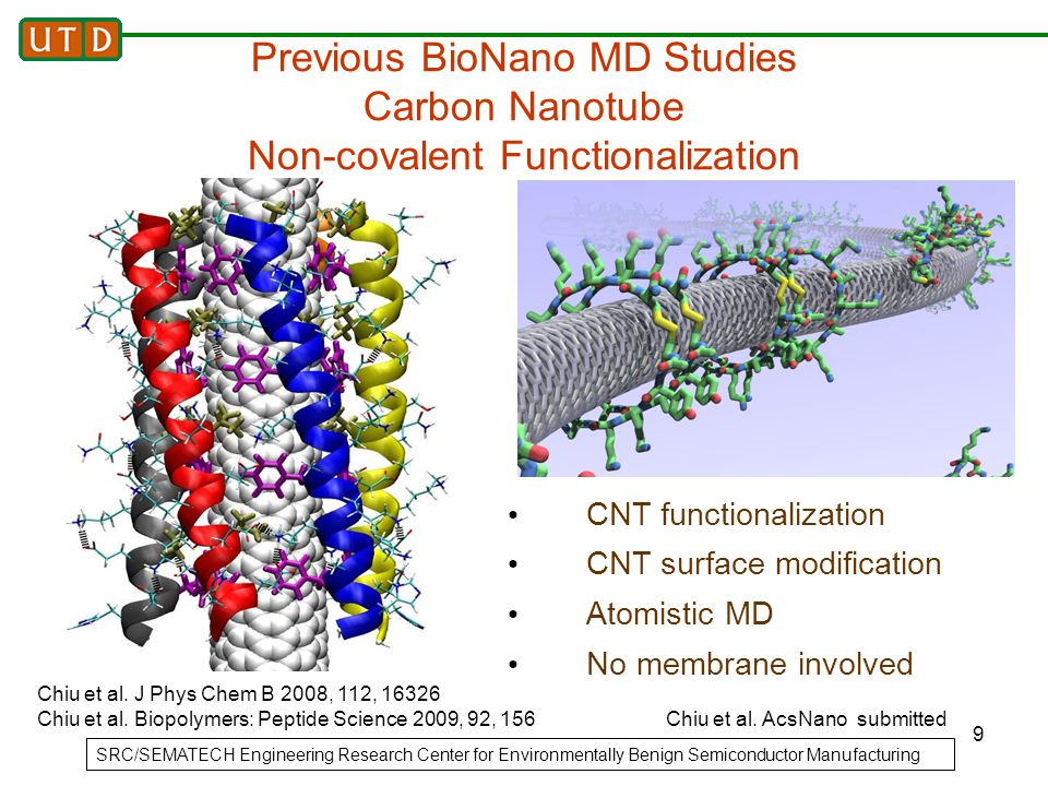 9 Previous BioNano MD Studies Carbon Nanotube Non-covalent Functionalization CNT functionalization CNT surface modification Atomistic MD No membrane i
