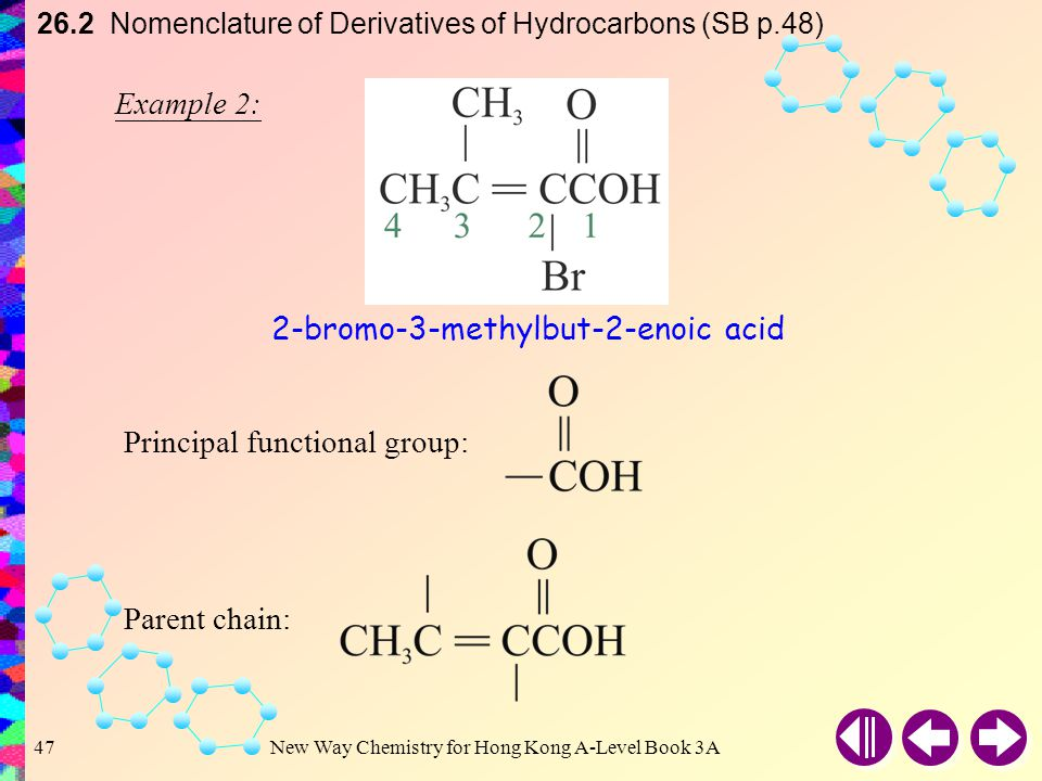 New Way Chemistry for Hong Kong A-Level Book 3A46 26.2 Nomenclature of Derivatives of Hydrocarbons (SB p.48) Example 1: Principal functional group: Parent chain: 4-chloro-4-methylpentanal