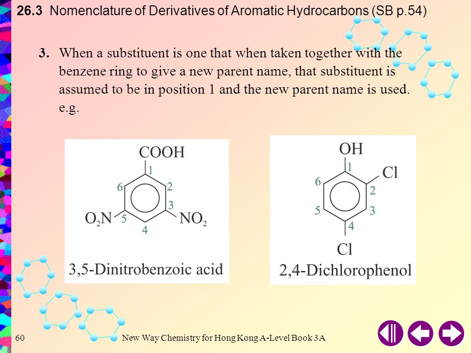 New Way Chemistry for Hong Kong A-Level Book 3A59 26.3 Nomenclature of Derivatives of Aromatic Hydrocarbons (SB p.54) 2.When the substituents are different, they are listed in alphabetical order.