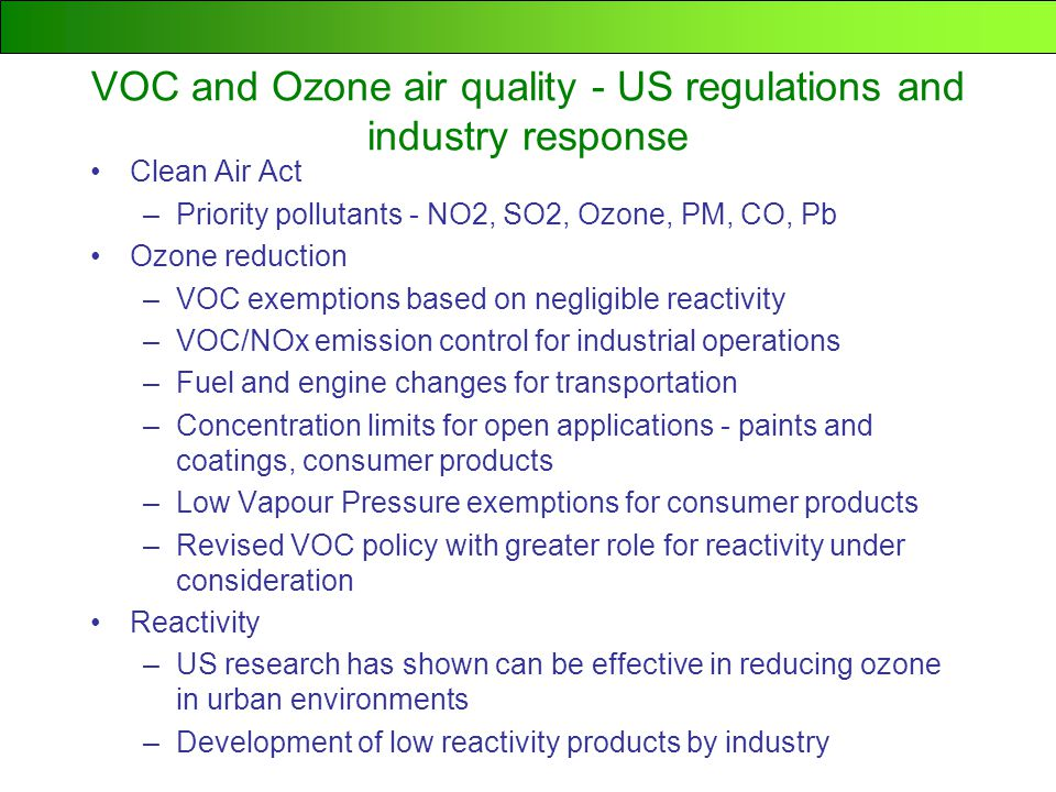 ethene 7.4 o -xylene 6.5 methanol 0.56 ethane 0.25 methane 0.015 Here are some examples ranked by MIR value: Reactivity can be expressed as Maximum Incremental Reactivity … the amount of grams of ozone formed per gram of VOC.....one hour peak ozone concentration formed during a day