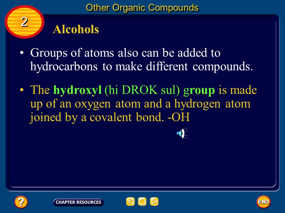 Substituted Hydrocarbons Other Organic Compounds 2 2 For example, when one or more chlorine atoms are added to methane in place of hydrogens, new compounds are formed.