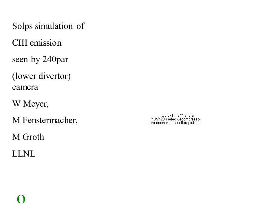 Solps simulation of CIII emission seen by 240par (lower divertor) camera W Meyer, M Fenstermacher, M Groth LLNL
