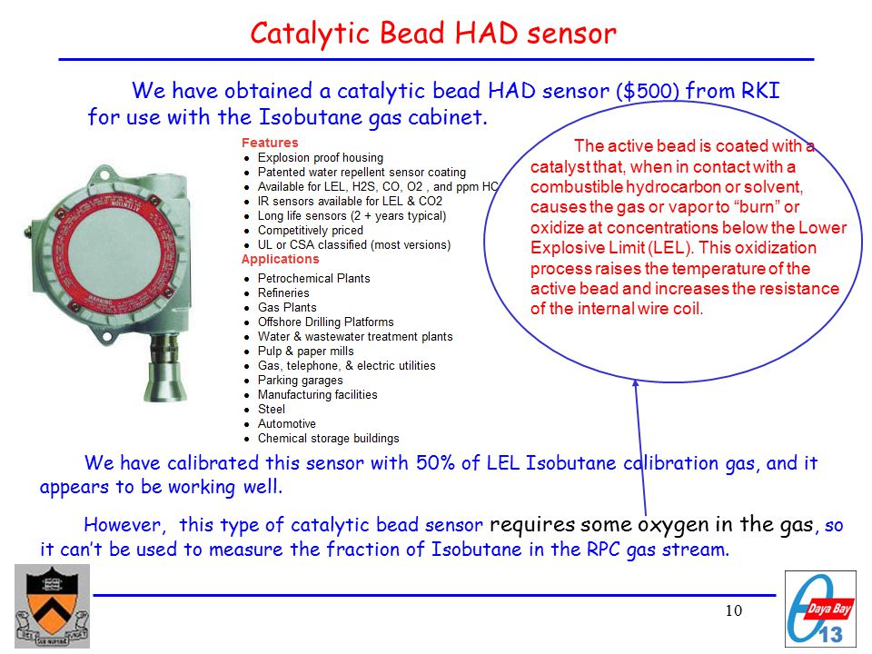 10 Catalytic Bead HAD sensor We have obtained a catalytic bead HAD sensor ($500) from RKI for use with the Isobutane gas cabinet.