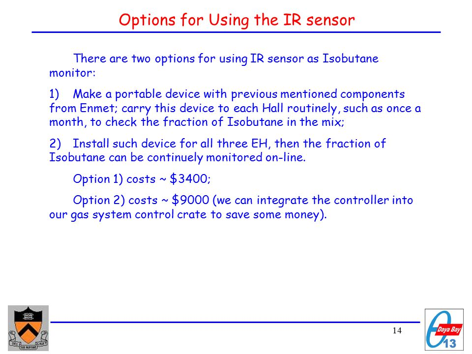 14 Options for Using the IR sensor There are two options for using IR sensor as Isobutane monitor: 1)Make a portable device with previous mentioned components from Enmet; carry this device to each Hall routinely, such as once a month, to check the fraction of Isobutane in the mix; 2)Install such device for all three EH, then the fraction of Isobutane can be continuely monitored on-line.