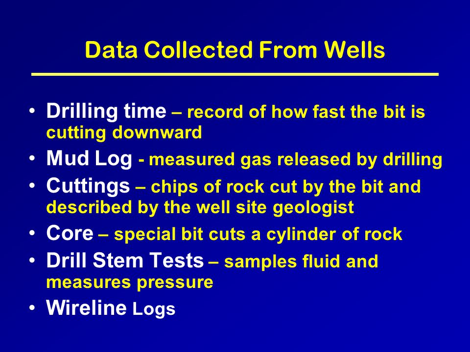 Drilling Most of the data used to find and efficiently produce hydrocarbons comes from wells that have been drilled.
