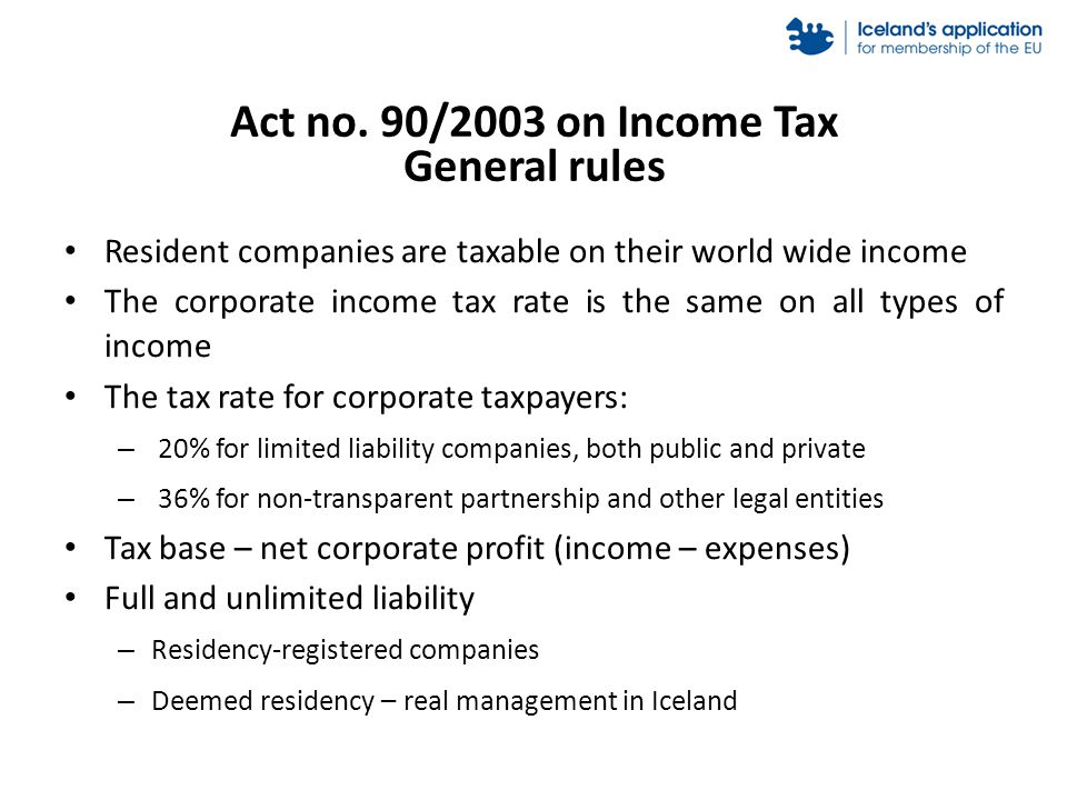 Act no. 90/2003 on Income Tax General rules Resident companies are taxable on their world wide income The corporate income tax rate is the same on all