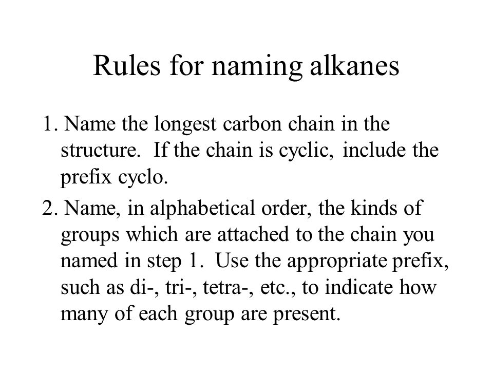 Rules for naming alkanes 1. Name the longest carbon chain in the structure. If the chain is cyclic, include the prefix cyclo. 2. Name, in alphabetical
