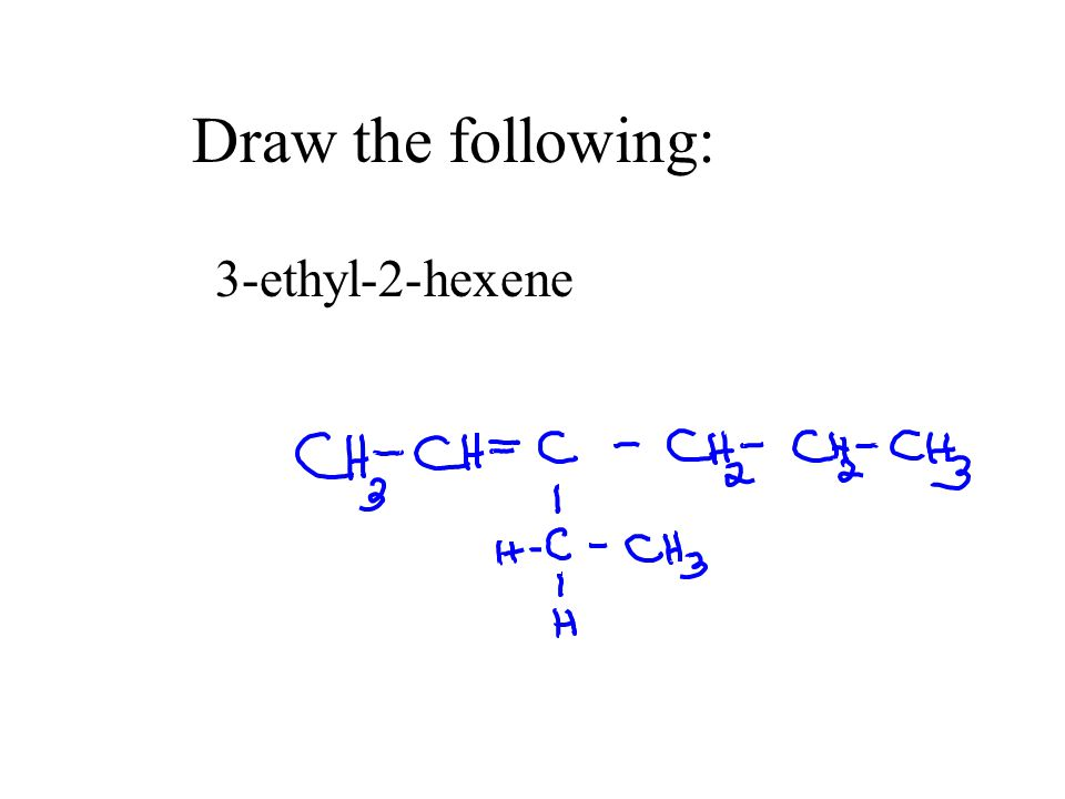 Draw the following: 3-ethyl-2-hexene