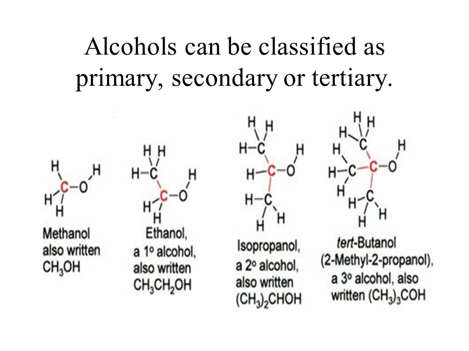 Alcohols can be classified as primary, secondary or tertiary.