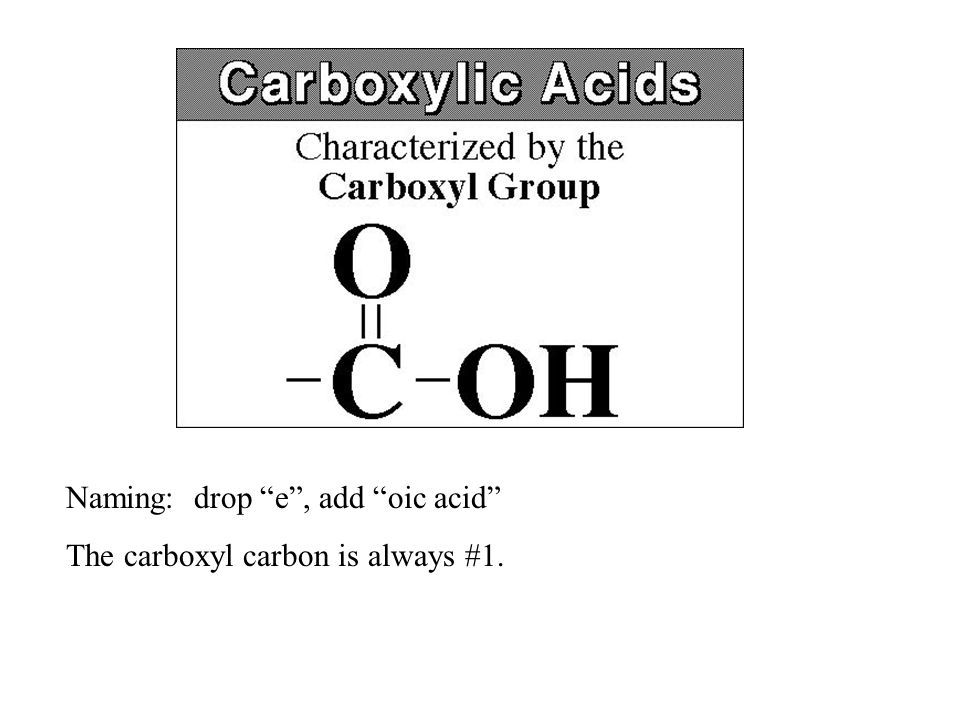"Naming: drop ""e"", add ""oic acid"" The carboxyl carbon is always #1."