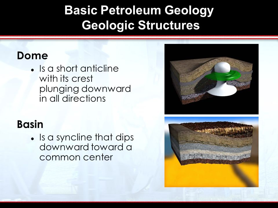 Basic Petroleum Geology Geologic Structures Dome Is a short anticline with its crest plunging downward in all directions Basin Is a syncline that dips downward toward a common center
