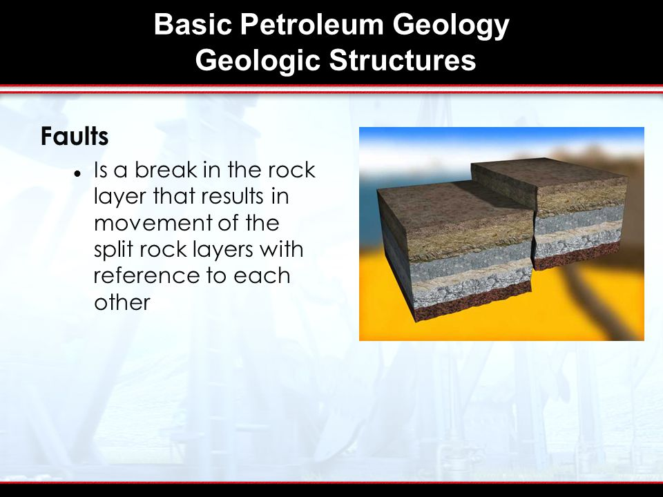 Basic Petroleum Geology Geologic Structures Faults Is a break in the rock layer that results in movement of the split rock layers with reference to each other