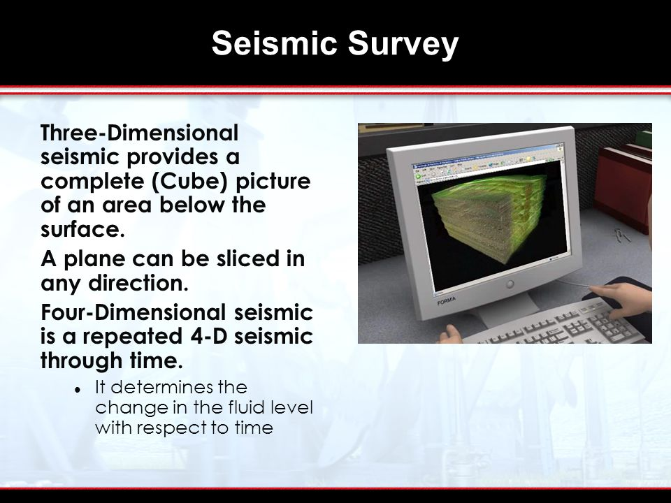 Seismic Survey Three-Dimensional seismic provides a complete (Cube) picture of an area below the surface.