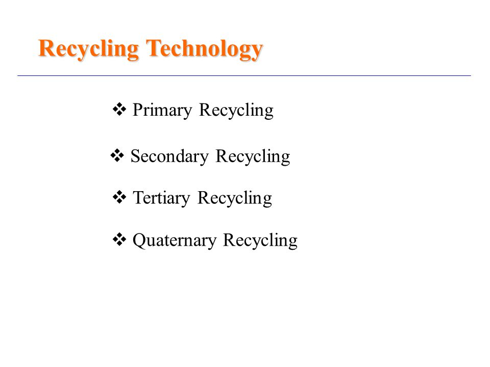 Recycling Technology  Primary Recycling  Secondary Recycling  Tertiary Recycling  Quaternary Recycling