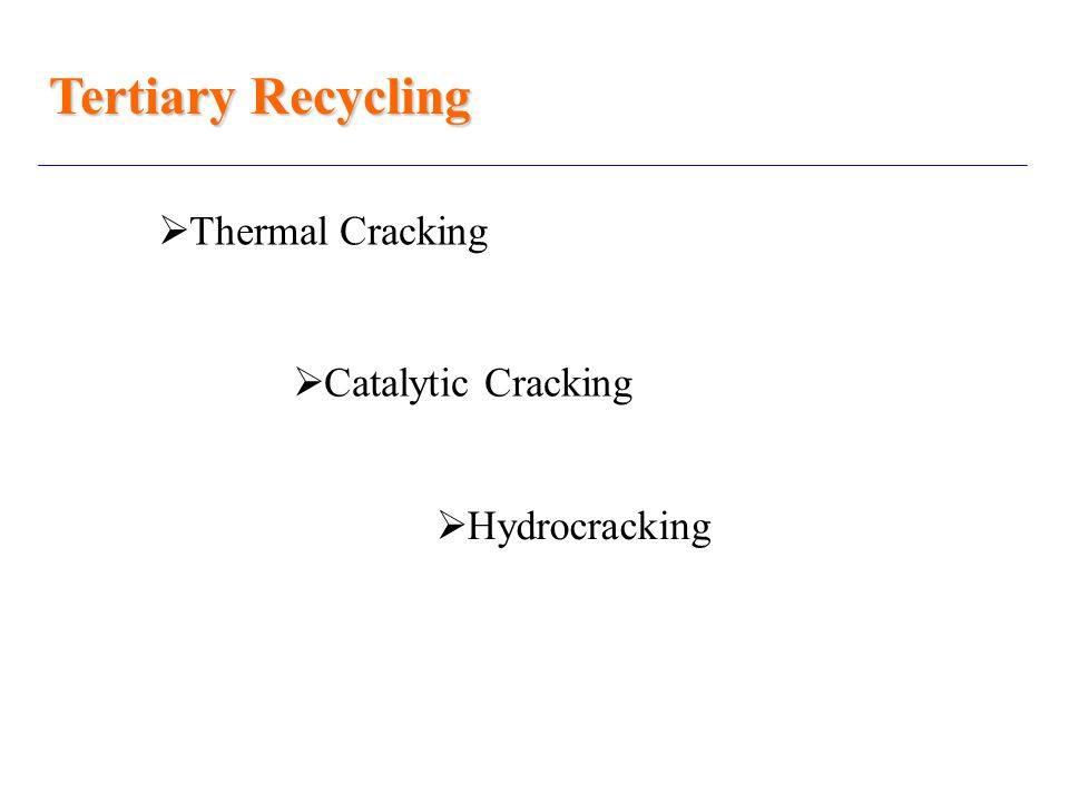 Tertiary Recycling  Thermal Cracking  Catalytic Cracking  Hydrocracking