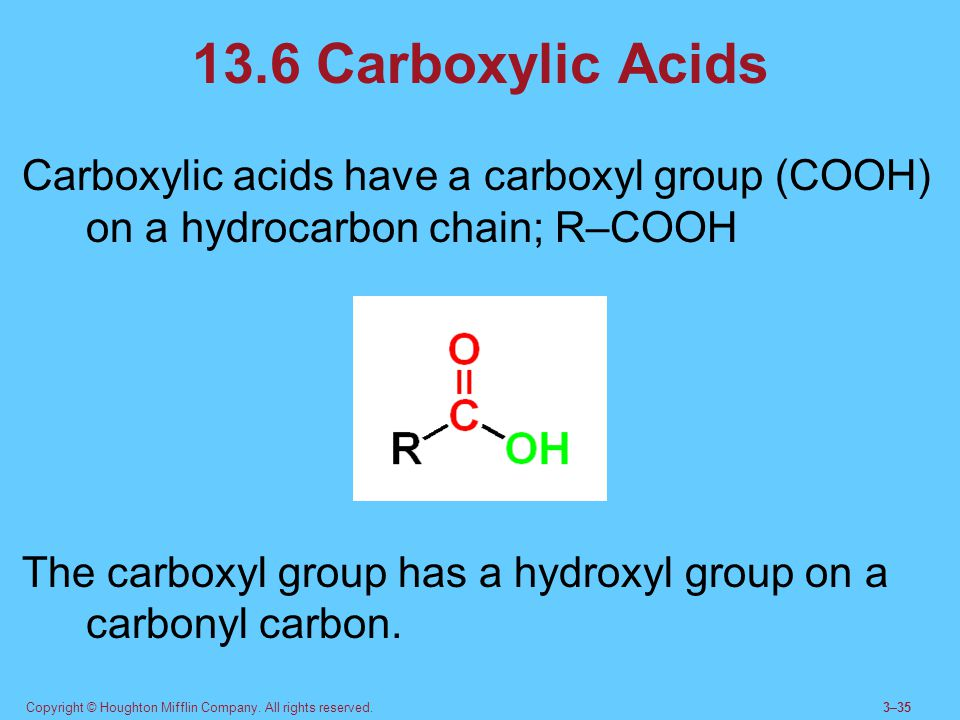 Copyright © Houghton Mifflin Company. All rights reserved.3–35 13.6 Carboxylic Acids Carboxylic acids have a carboxyl group (COOH) on a hydrocarbon ch
