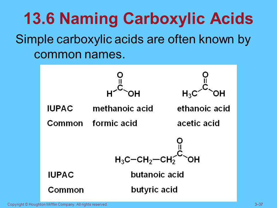 Copyright © Houghton Mifflin Company. All rights reserved.3–37 13.6 Naming Carboxylic Acids Simple carboxylic acids are often known by common names.