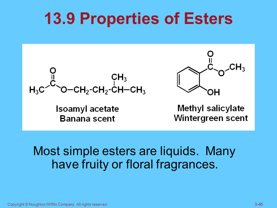 Copyright © Houghton Mifflin Company. All rights reserved.3–65 13.9 Properties of Esters Most simple esters are liquids. Many have fruity or floral fr