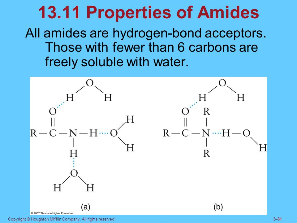 Copyright © Houghton Mifflin Company. All rights reserved.3–81 13.11 Properties of Amides All amides are hydrogen-bond acceptors. Those with fewer tha