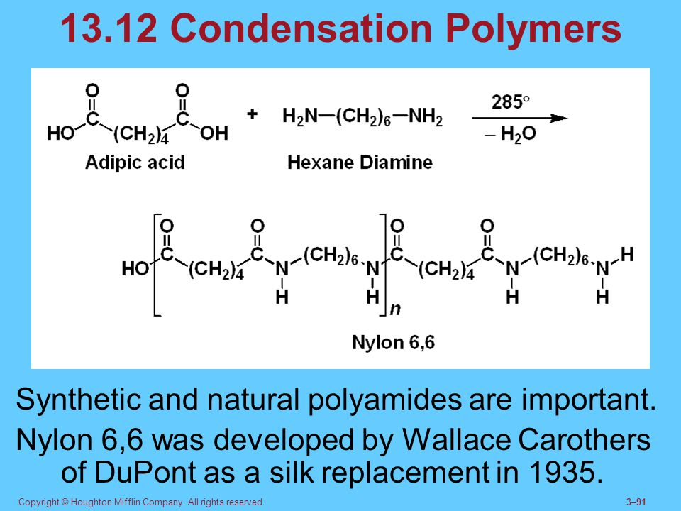 Copyright © Houghton Mifflin Company. All rights reserved.3–91 13.12 Condensation Polymers Synthetic and natural polyamides are important. Nylon 6,6 w