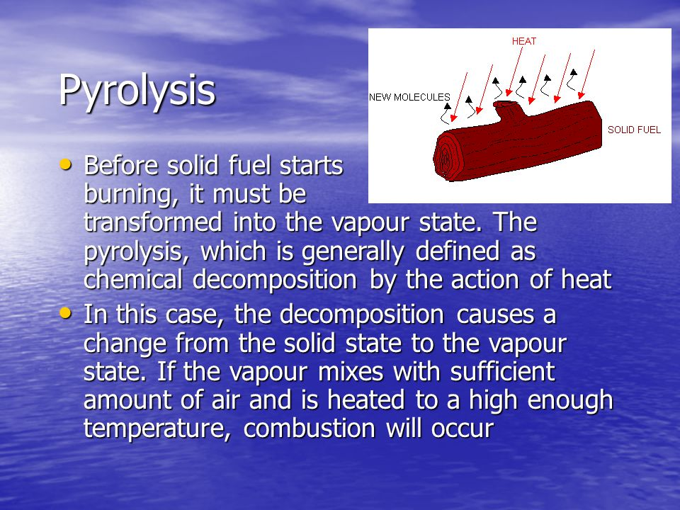 Pyrolysis Before solid fuel starts burning, it must be transformed into the vapour state.