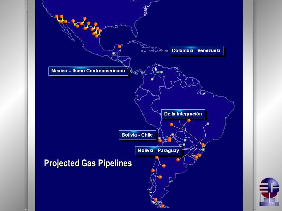 .. Mexico – Itsmo Centroamericano Colombia - Venezuela Bolivia - Paraguay Bolivia - Chile Projected Gas Pipelines De la Integración