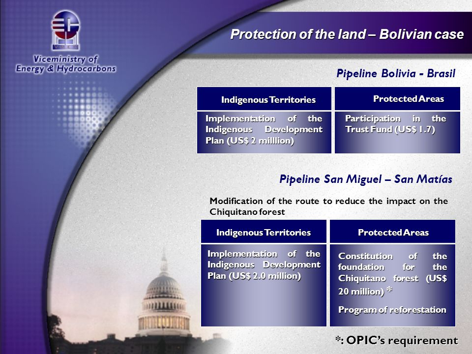 Protection of the land – Bolivian case Pipeline San Miguel – San Matías Indigenous Territories Protected Areas Modification of the route to reduce the impact on the Chiquitano forest Constitution of the foundation for the Chiquitano forest (US$ 20 million) * Implementation of the Indigenous Development Plan (US$ 2.0 million) Program of reforestation Pipeline Bolivia - Brasil Indigenous Territories Protected Areas Participation in the Trust Fund (US$ 1.7) Implementation of the Indigenous Development Plan (US$ 2 milllion) Indigenous Territories Protected Areas *: OPIC's requirement