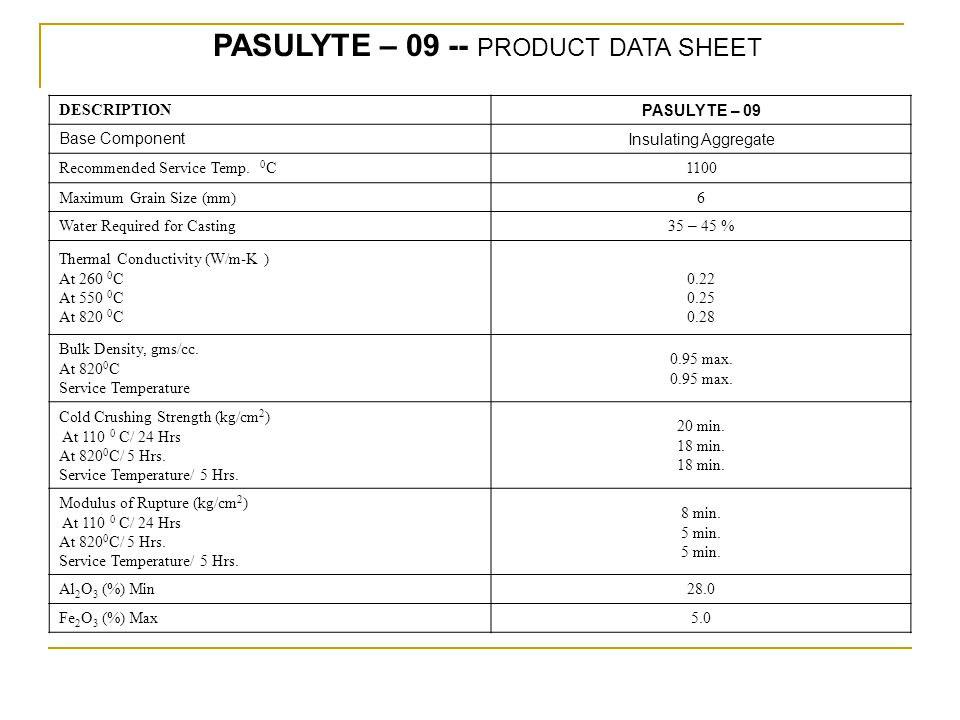 PASULYTE – 09 -- PRODUCT DATA SHEET DESCRIPTION PASULYTE – 09 Base ComponentInsulating Aggregate Recommended Service Temp. 0 C1100 Maximum Grain Size