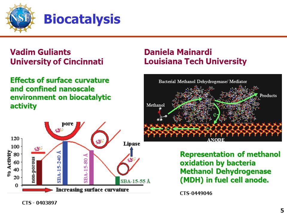 5 Biocatalysis Daniela Mainardi Louisiana Tech University Representation of methanol oxidation by bacteria Methanol Dehydrogenase (MDH) in fuel cell anode.