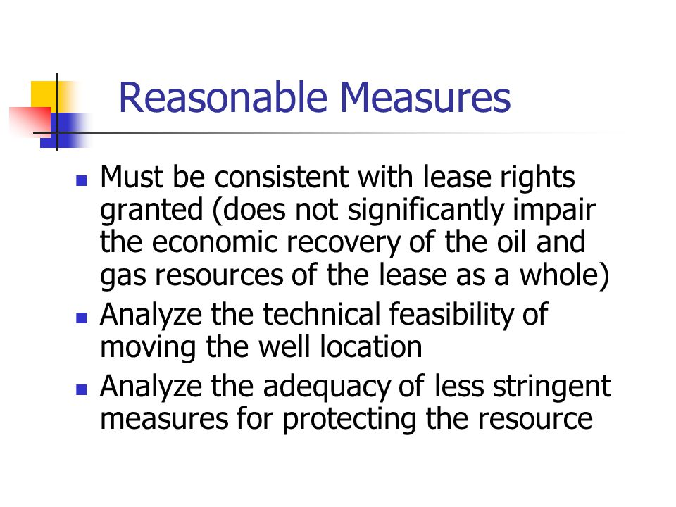 Reasonable Measures Must be consistent with lease rights granted (does not significantly impair the economic recovery of the oil and gas resources of the lease as a whole) Analyze the technical feasibility of moving the well location Analyze the adequacy of less stringent measures for protecting the resource
