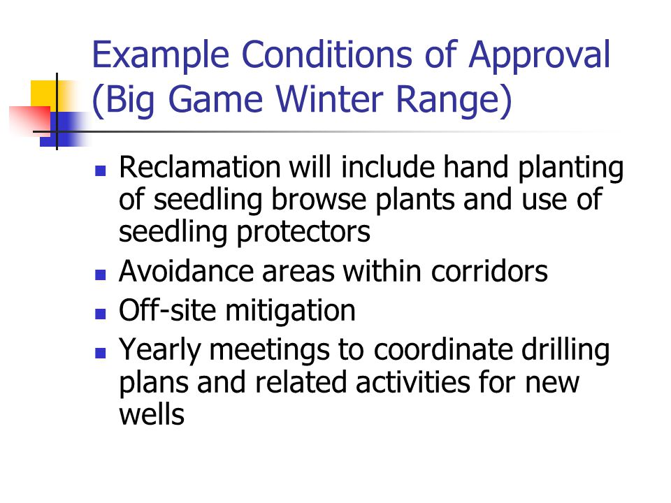 Example Conditions of Approval (Big Game Winter Range) Reclamation will include hand planting of seedling browse plants and use of seedling protectors Avoidance areas within corridors Off-site mitigation Yearly meetings to coordinate drilling plans and related activities for new wells
