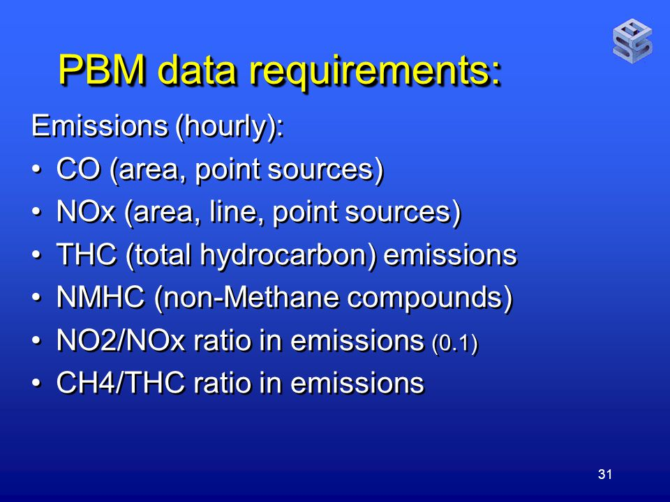 31 PBM data requirements: Emissions (hourly): CO (area, point sources) NOx (area, line, point sources) THC (total hydrocarbon) emissions NMHC (non-Methane compounds) NO2/NOx ratio in emissions (0.1) CH4/THC ratio in emissions Emissions (hourly): CO (area, point sources) NOx (area, line, point sources) THC (total hydrocarbon) emissions NMHC (non-Methane compounds) NO2/NOx ratio in emissions (0.1) CH4/THC ratio in emissions
