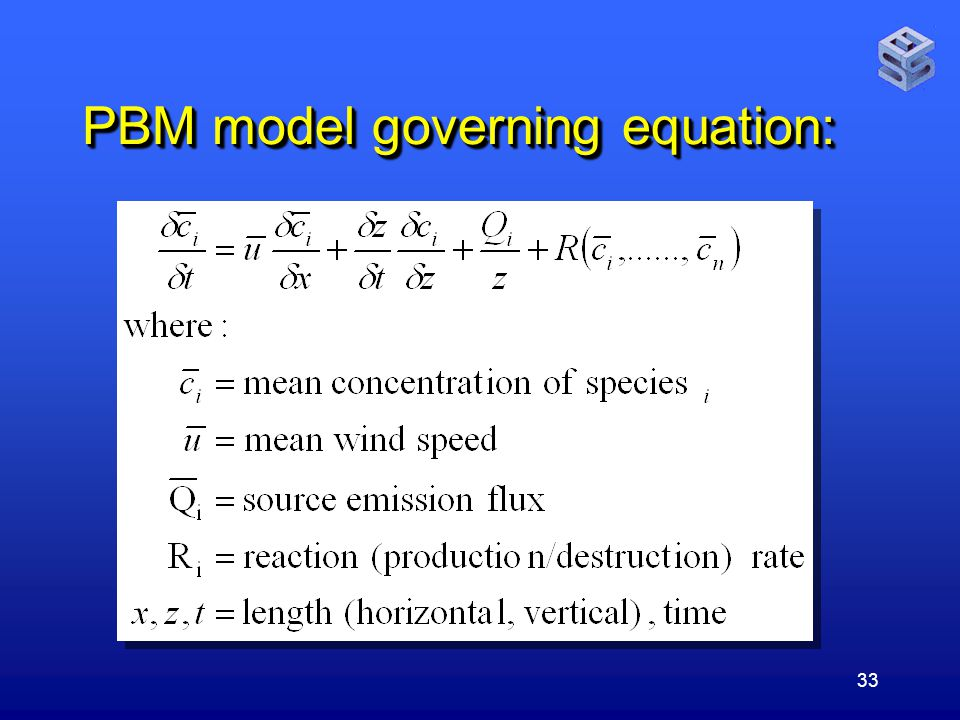 33 PBM model governing equation: