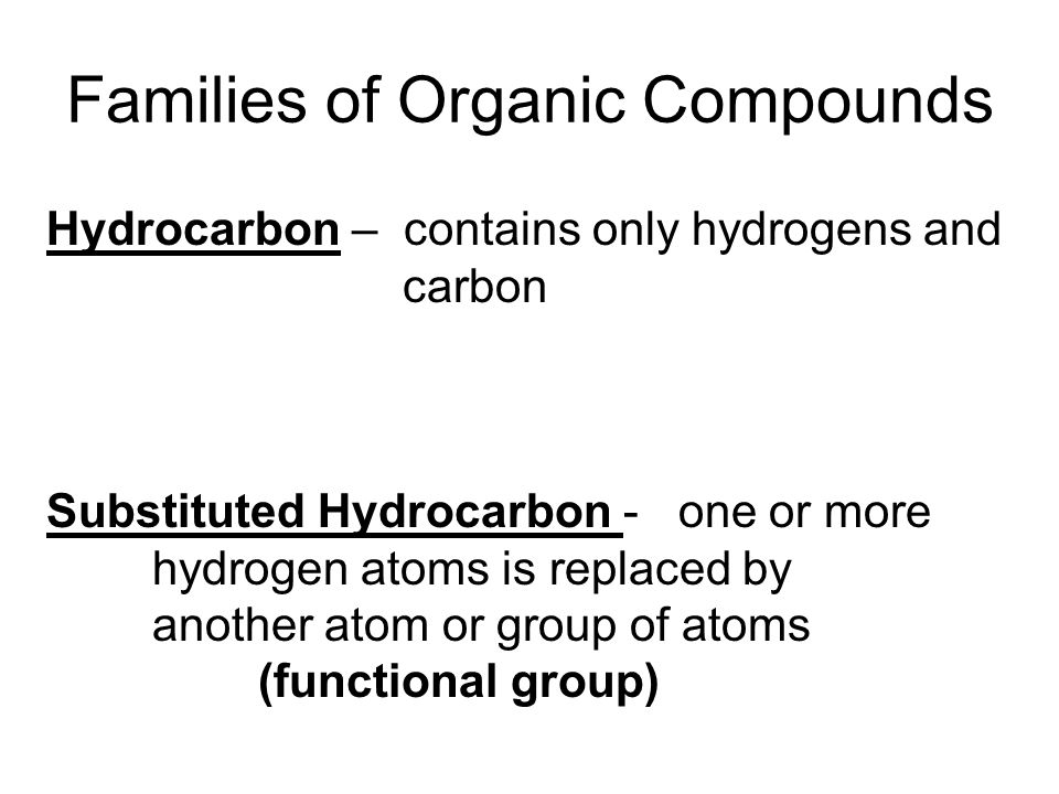 Families of Organic Compounds Hydrocarbon – contains only hydrogens and carbon Substituted Hydrocarbon - one or more hydrogen atoms is replaced by ano