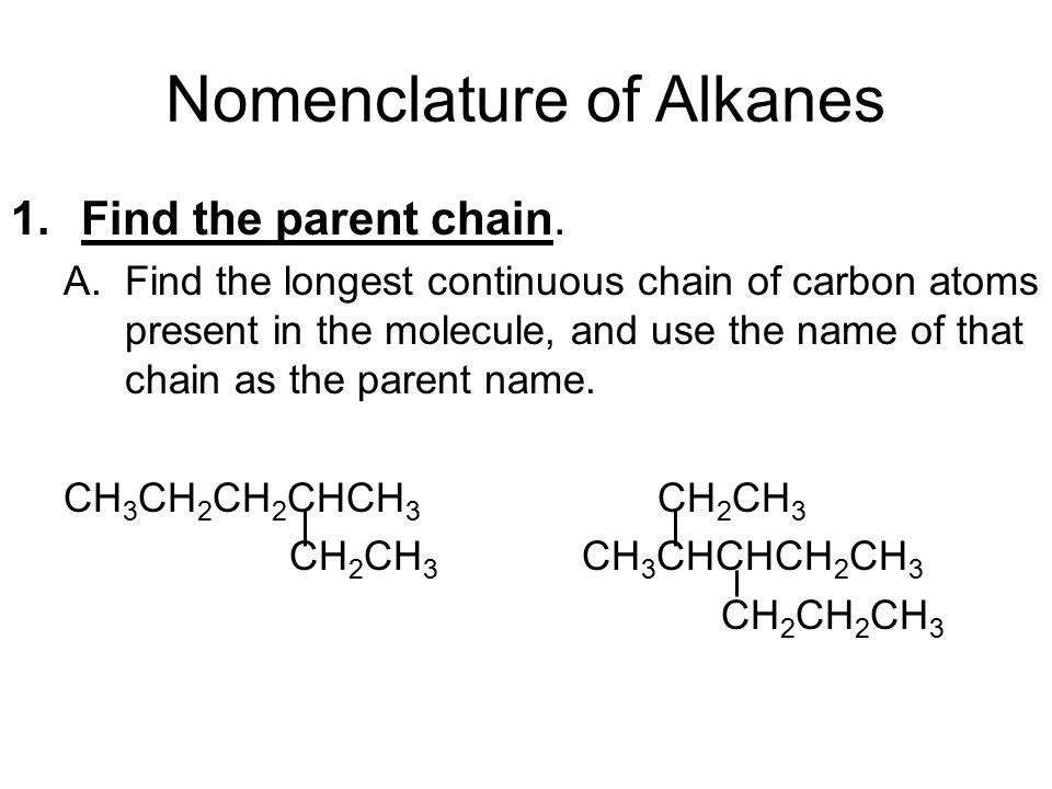 Nomenclature of Alkanes 1.Find the parent chain.