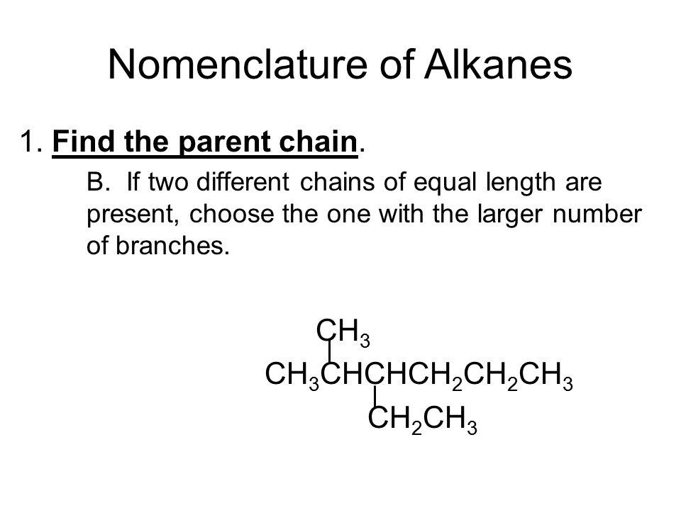Nomenclature of Alkanes 1. Find the parent chain.
