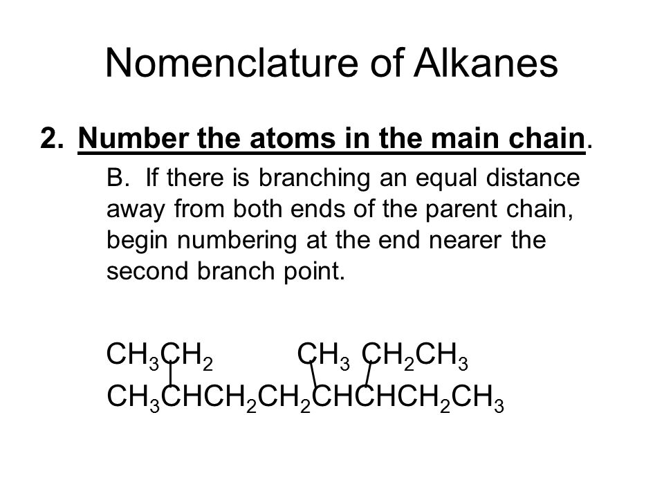 Nomenclature of Alkanes 2.Number the atoms in the main chain.