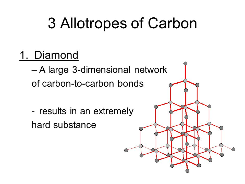 3 Allotropes of Carbon 1. Diamond –A large 3-dimensional network of carbon-to-carbon bonds -results in an extremely hard substance