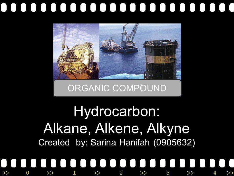 >>0 >>1 >> 2 >> 3 >> 4 >> Hydrocarbon: Alkane, Alkene, Alkyne Created by: Sarina Hanifah (0905632) ORGANIC COMPOUND