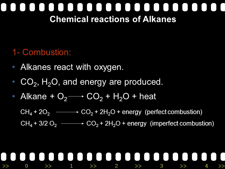 >>0 >>1 >> 2 >> 3 >> 4 >> Physical properties of alkane Non polar Insoluble in water. Lower density than water. Low boiling and melting points. Gases
