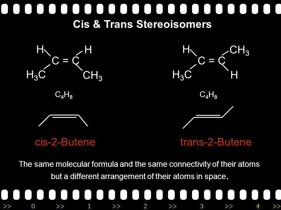 >>0 >>1 >> 2 >> 3 >> 4 >> CH 3 ─ CH 2 ─ C  C ─ CH 3 2-Pentyne CH 3 CH 3 ─ CH 2 ─ C=CH ─ CH 3 3-Methyl-2 pentyne Naming Alkenes & Alkynes 5 4 3 2 1 5