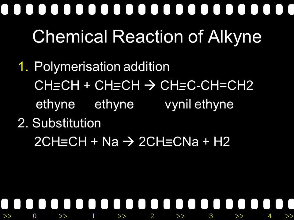 >>0 >>1 >> 2 >> 3 >> 4 >> Chemical Reaction of Alkene 3. Combustion CH 2 =CH 2 (g) + 3O 2 (g)  2CO 2 (g) + 2H 2 O(g) 4. Hydration CH2=CH2(g) + H2O(l)