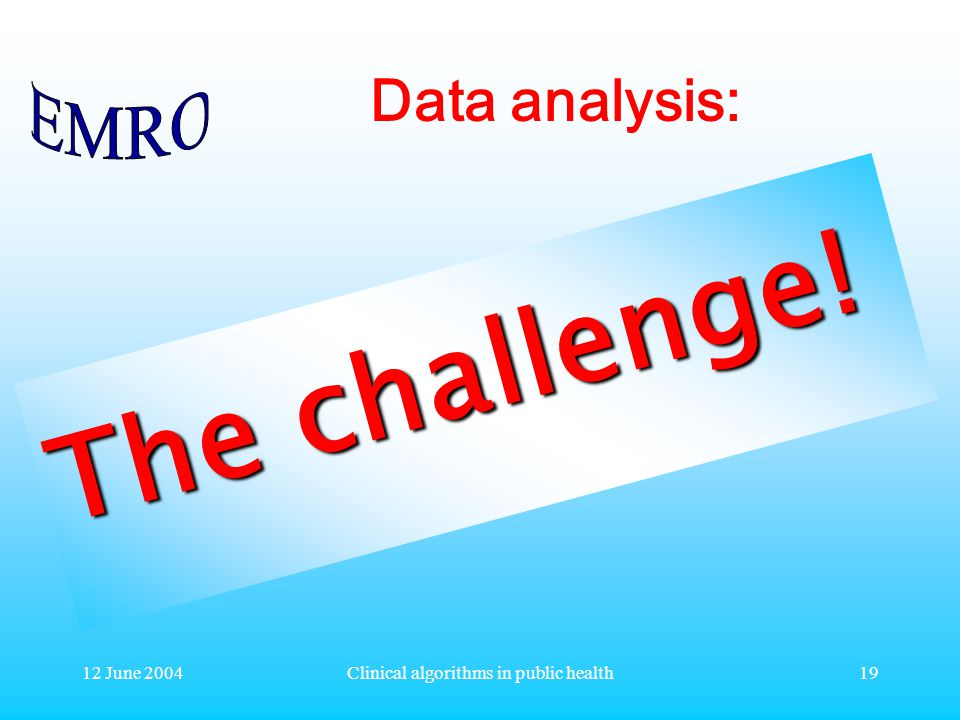 12 June 2004Clinical algorithms in public health19 Data analysis: The challenge!